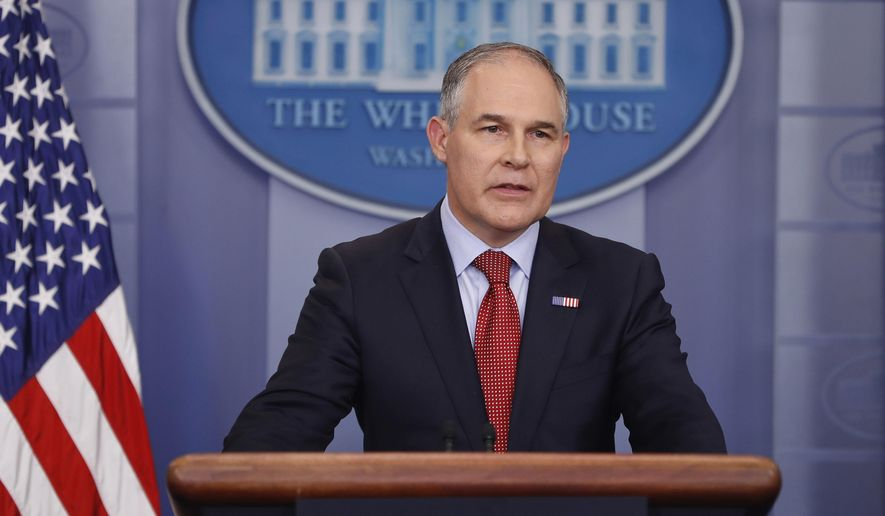 In this June 2, 2017, file photo, EPA Administrator Scott Pruitt speaks to the media during the daily briefing in the Brady Press Briefing Room of the White House in Washington. (AP Photo/Pablo Martinez Monsivais,file)