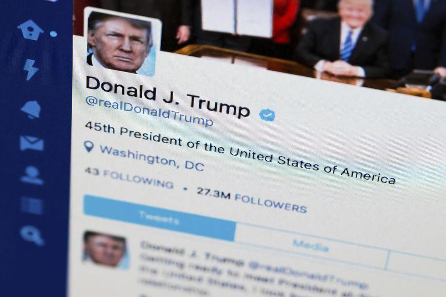 President Trump's Twitter feed. (Associated Press/File)