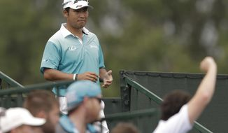Hideki Matsuyama of Japan, arrives for the second hole during the second round of the PGA Championship golf tournament at the Quail Hollow Club Friday, Aug. 11, 2017, in Charlotte, N.C. (AP Photo/John Bazemore)