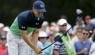 Jordan Spieth reacts to a poor tee shot on the eighth hole during the second round of the PGA Championship golf tournament at the Quail Hollow Club Friday, Aug. 11, 2017, in Charlotte, N.C. (AP Photo/Chuck Burton)