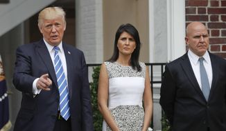 President Donald Trump speaks as U.S. Ambassador to the United Nations Nikki Haley and National Security Adviser H.R. McMaster listen at Trump National Golf Club in Bedminster, N.J., Friday, Aug. 11, 2017. (AP Photo/Pablo Martinez Monsivais) ** FILE **
