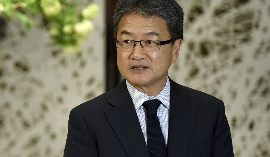 FILE - In this April 25, 2017, file-pool photo, U.S. special envoy for North Korea policy Joseph Yun speaks in Tokyo. Beyond the bluster, the Trump administration has been quietly engaged in back channel diplomacy with North Korea for several months, addressing Americans imprisoned in the communist country and deteriorating relations between the long-time foes, The Associated Press has learned.  (Toru Yamanaka/Pool Photo via AP)