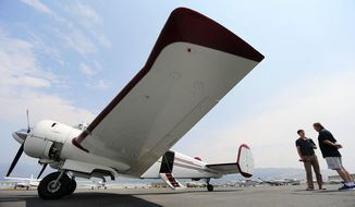 Vintage Aviation Museum prepares for Warbirds over Utah event at Bountiful Skypark in Woods Cross with a flight in a Beechcraft Super 18 twin engine airplane on Monday, Aug. 7, 2017. (Scott Winterton/The Deseret News via AP)