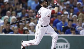 FILE - In this July 18, 2017, file photo, Boston Red Sox's Dustin Pedroia bats during the team's baseball game against the Toronto Blue Jays at Fenway Park in Boston. Pedroia could be headed to the disabled list for the third time this season. Pedroia went 0 for 4 as a designated hitter Wednesday, Aug. 9, at Tampa Bay in his first game since July 28. Pedroia's left knee was too inflamed for him to play Friday night for the AL East leaders at Yankee Stadium, and Red Sox manager John Farrell said a return to the DL was possible. (AP Photo/Charles Krupa, File)