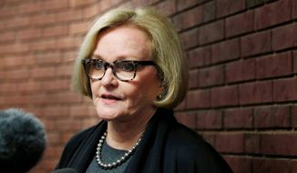 Sen. Claire McCaskill, Missouri Democrat, is up for re-election in 2018 and faces an upstart from within her own party.