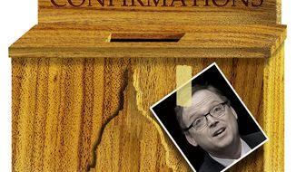 Illustration on the delayed confirmation of Kevin Hassett by Alexander Hunter/The Washington Times