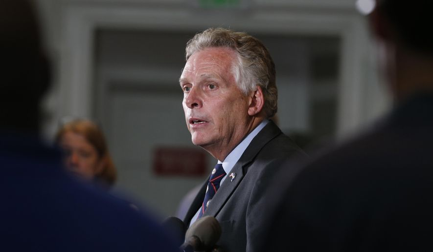 Virginia Gov. Terry McAuliffe said Optima's withdrawal will leave 62,000 people in 63 of the state's 95 counties without an option on the Affordable Care Act's marketplace in 2018, unless another company steps up to fill the void.(AP Photo/Steve Helber)