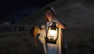 """This image released by Warner Bros Pictures shows Lulu Wilson in """"Annabelle: Creation."""" (Warner Brothers Pictures via AP)"""