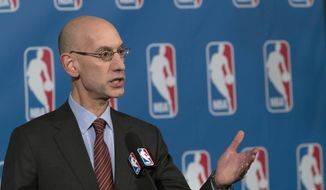 """FILE - In this Oct. 21, 2016, file photo, NBA Commissioner Adam Silver speaks to reporters during a news conference, in New York. An NBA delegation, led by Silver, is in Israel as part of """"Basketball Without Borders,"""" a program that hosts training camps for top teenage players throughout the world. (AP Photo/Mary Altaffer, File)"""