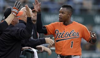 Baltimore Orioles' Tim Beckham is congratulated after scoring against the Oakland Athletics during the first inning of a baseball game Saturday, Aug. 12, 2017, in Oakland, Calif. (AP Photo/Ben Margot)