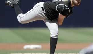 FILE - This Sept. 11, 2016 file photo shows Colorado Rockies starting pitcher Chad Bettis working against a San Diego Padres batter during the first inning of a baseball game in San Diego. Bettis will complete his comeback from chemotherapy for testicular cancer by starting the game in Denver against Atlanta on Monday, Aug. 14, 2017. (AP Photo/Ryan Kang, file)