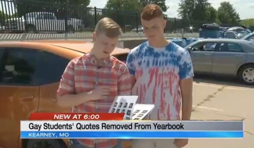 Kearney School District in Missouri has apologized after quotes by Joey Slivinski and Thomas Swartz, two openly gay students, were censored from their high school yearbook. (KCTV)