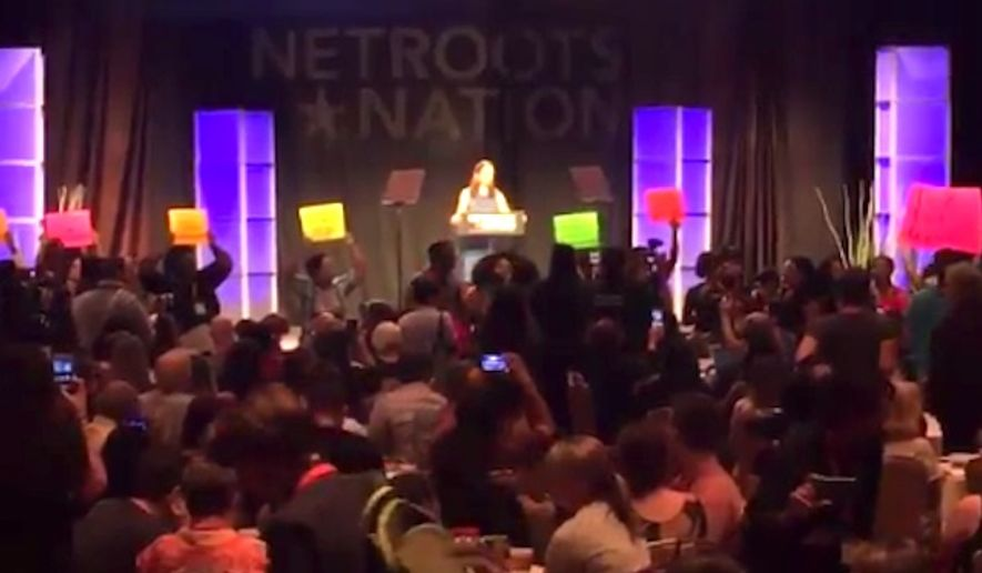 Georgia state Rep. Stacey Evans, a white Democrat seeking the party's nomination for governor, struggled to get through her speech Saturday at the Netroots Nation Conference in Atlanta as supporters of her Democratic rival, state Rep. Stacey Abrams, who is black, repeatedly shouted over her. (Twitter/@bluestein)