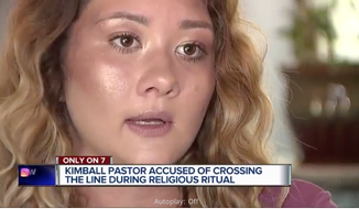 Justine Morden, a 20-year-old Michigan woman, alleges that her pastor inappropriately touched her during an anointing ritual. (Screen capture from video report at WXYZ.com) [http://www.wxyz.com/news/region/st-clair-county/woman-says-pastor-sexually-assaulted-her-during-anointing-ritual]