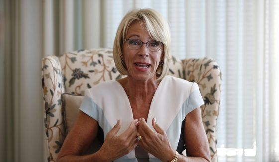 In this Aug. 9, 2017, file photo, Education Secretary Betsy DeVos is interviewed by The Associated Press in her office at the Education Department in Washington. (AP Photo/Jacquelyn Martin) ** FILE **