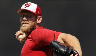 FILE - In this Aug. 9, 2017, file photo, Washington Nationals pitcher Stephen Strasburg throws from the mound during a simulated baseball game, at Nationals Park in Washington. Strasburg has been on the disabled list with a nerve impingement in his right elbow since July 27, 2017. (AP Photo/Carolyn Kaster, File) **FILE**