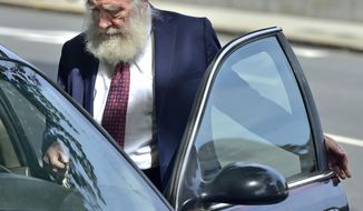 Rabbi Daniel Greer, 77, of New Haven, leaves New Haven Superior Court on Elm Street in New Haven Monday morning, August 14, 2017 after he was arraigned on a criminal charge of second-degree sexual assault and risk of injury to a minor. Greer did not enter a plea.  (Peter Hvizdak/New Haven Register via AP)