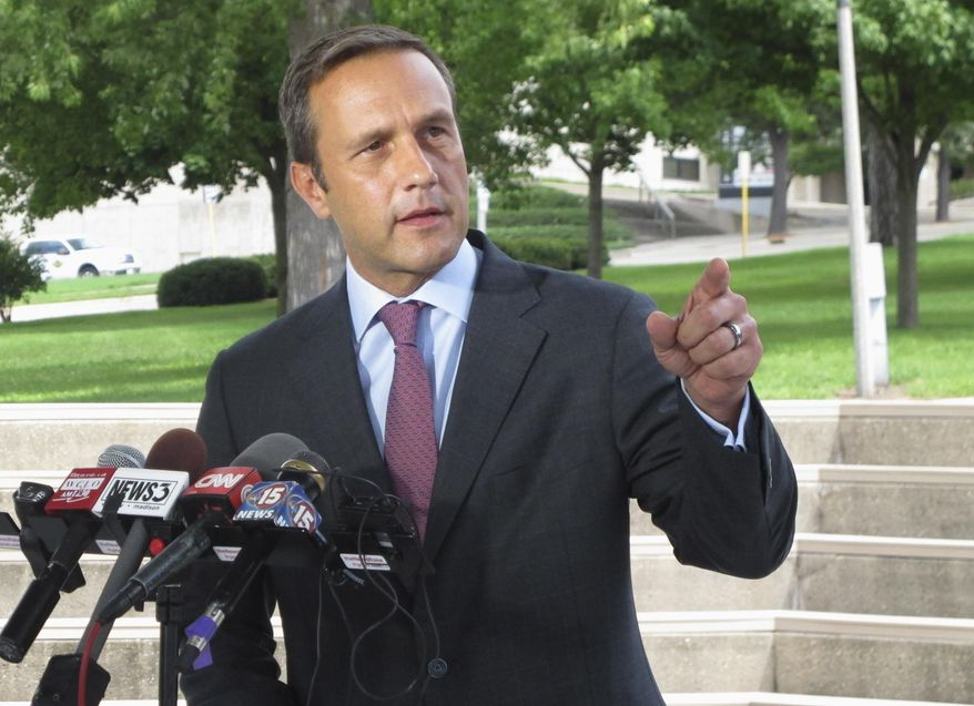 In this Aug. 3, 2016, file photo, Paul Nehlen, a Republican challenger to House Speaker Paul Ryan, speaks in Janesville, Wis. (AP Photo/Scott Bauer, File)