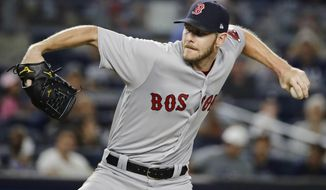 Boston Red Sox's Chris Sale delivers a pitch during the first inning of a baseball game against the New York Yankees, Sunday, Aug. 13, 2017, in New York. (AP Photo/Frank Franklin II)