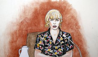 In this Thursday, Aug. 10, 2017, file courtroom sketch, pop singer Taylor Swift speaks from the witness stand during a trial, in Denver. A jury on Monday, Aug. 14, was expected to weigh Swift's allegation that a former radio host groped her during a meet-and-greet before a concert and whether the singer's mother and her radio liaison later set out to destroy his career. (Jeff Kandyba via AP, File)