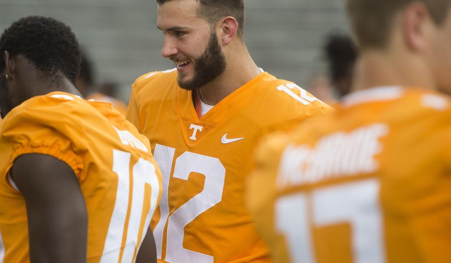 Tennessee quarterback Quinten Dormady attends NCAA college football media day in Knoxville, Tenn., Sunday, Aug. 13, 2017. (Saul Young/Knoxville News Sentinel via AP)