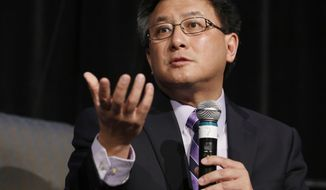 FILE - This Tuesday, April 4, 2017 file photo State Treasurer John Chiang, a candidate for California governor, speaks at a gubernatorial candidates forum, in Sacramento, Calif. Chiang, has helped secure millions of dollars in tax breaks and bonds for housing developers that have donated to his campaigns, including his current run for governor, the Sacramento Bee reports. (AP Photo/Rich Pedroncelli,File)