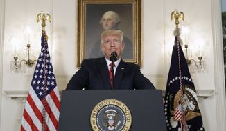 President Donald Trump pauses while speaking in the Diplomatic Reception Room of the White House in Washington, Monday, Aug. 14, 2017.  (AP Photo/Evan Vucci)