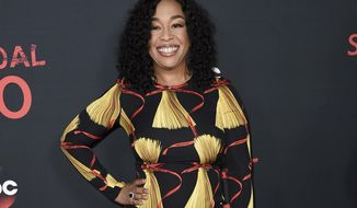 """FILE - In this April 8, 2017, file photo, Shonda Rhimes attends the """"Scandal"""" 100th Episode Celebration at Fig & Olive in West Hollywood, Calif. Netflix announced late Sunday, Aug. 13, that Rhimes and her company Shondaland had agreed to produce new series and context for the streaming service. Rhimes' current hit shows, """"Grey's Anatomy,"""" """"Scandal"""" and """"How to Get Away With Murder,"""" will continue to air on ABC. (Photo by Richard Shotwell/Invision/AP, File)"""