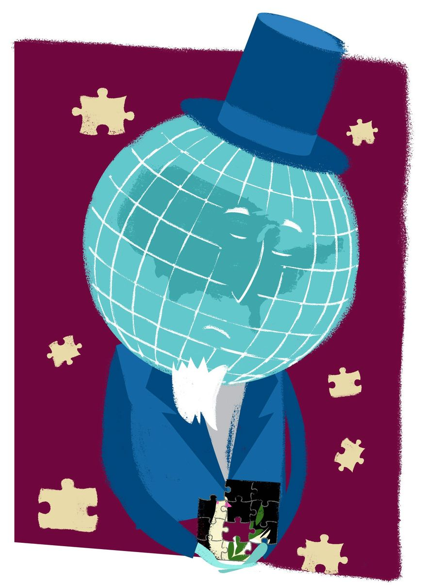 Illustration on the need for a U.S. comprehensive peace strategy by Linas Garsys/The Washington Times