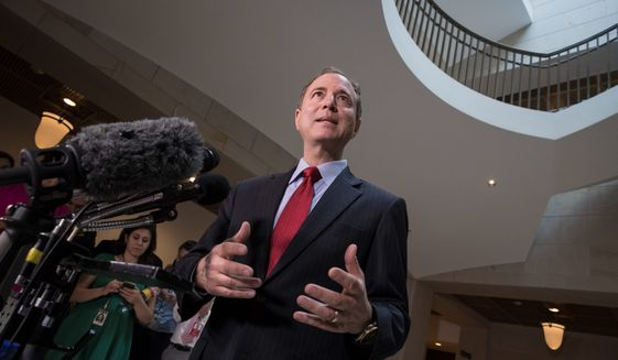 """Rep. Adam B. Schiff said investigators' attempt to meet """"Trump dossier"""" author Christopher Steele stalls independent efforts to get him to testify. (Associated Press)"""