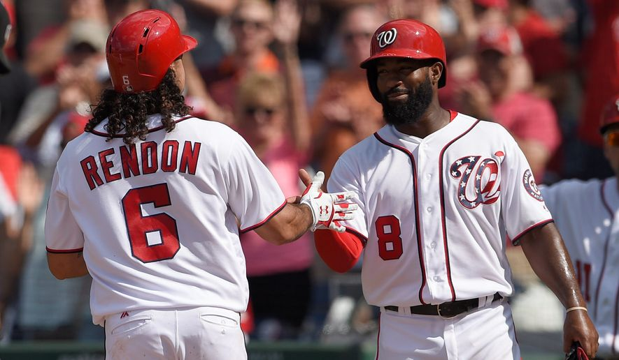 Washington Nationals outfielder Brian Goodwin was removed before the top of the ninth inning in the first game of a split day-night double-header on Sunday because of groin tightness despite scoring on Anthony Rendon's home run an inning earlier. Goodwin's departure was more precautionary due to the growing list of injuries this season. (Associated Press)