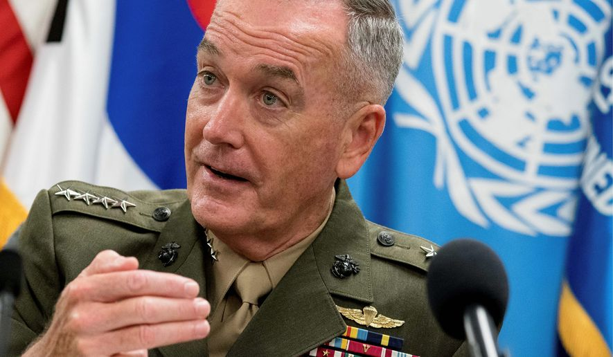 talks for now: Gen. Joseph Dunford, chairman of the Joint Chiefs of Staff, is in South Korea as part of a diplomatic visit to the peninsula and China in an attempt to ease tensions with North Korea. (Associated Press)