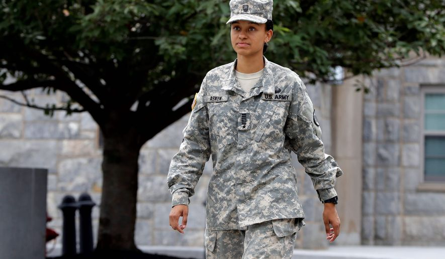 Cadet Simone Askew of Fairfax, Virginia, was chosen as first captain of the U.S. Military Academy Corps of Cadets for the upcoming academic year at West Point, the first black woman ever selected. Story, A10. (Associated Press)