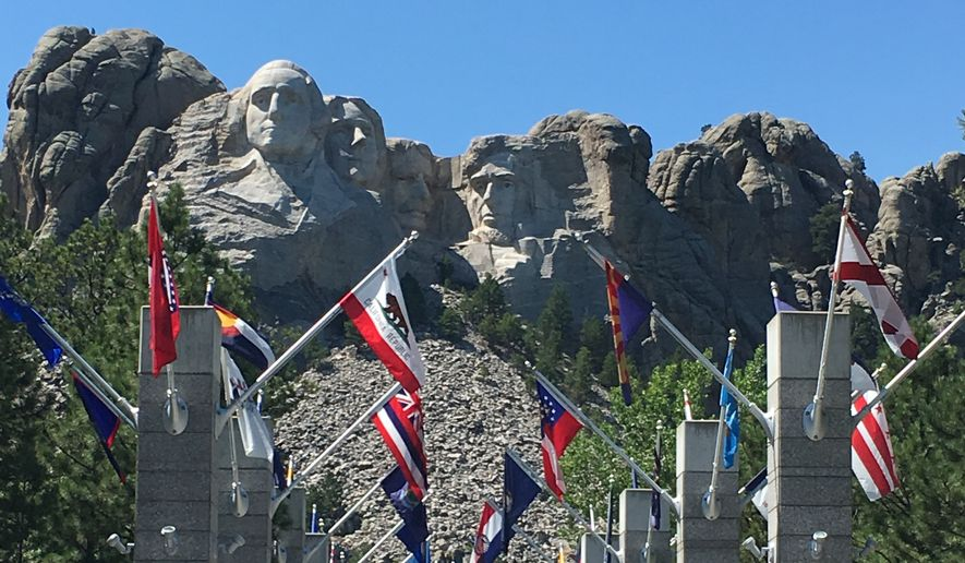 The pathway leading up to the faces at Mount Rushmore National Memorial.  (Eric Althoff/The Washington Times)
