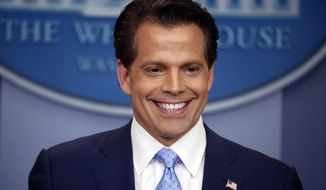 "FILE- In this July, 21, 2017, file photo, New White House communications director Anthony Scaramucci speaks to members of the media in the Brady Press Briefing room of the White House in Washington. Short-lived White House communications director Scaramucci says if it were up to him, top adviser Steve Bannon would be gone from President Donald Trump's administration. ""The Mooch,"" a few weeks removed from his spectacular flameout following an expletive-laden conversation with a reporter, appeared Monday, Aug. 14, on CBS' ""Late Show"" with Stephen Colbert. (AP Photo/Pablo Martinez Monsivais, File)"