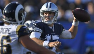 FILe - In this Aug. 12, 2017, file photo, Dallas Cowboys quarterback Kellen Moore throws a pass during the first half of a preseason NFL football game against the Los Angeles Rams, in Los Angeles. Moore's injury a year ago sparked a transformation that turned America's Team into Dak Prescott's team. Now he's healthy again, and the backup quarterback for the Dallas Cowboys again, this time behind Prescott instead of Tony Romo. (AP Photo/Mark J. Terrill, File)