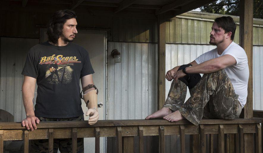 "This image released by Bleecker Street shows Adam Driver, left, and Channing Tatum in ""Logan Lucky."" (Claudette Barius/Fingerprint Releasing/Bleecker Street via AP)"