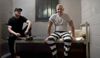 "This image released by Bleecker Street shows director Steven Soderbergh, left, and actor Daniel Craig on the set of their film ""Logan Lucky."" (Claudette Barius/Fingerprint Releasing/Bleecker Street via AP)"