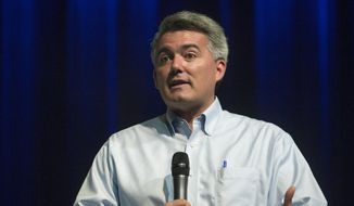Republican Sen. Cory Gardner speaks at a town hall Tuesday, Aug. 15, 2017, at Pikes Peak Community College in Colorado Springs, Colo. (James Wooldridge/The Gazette via AP) ** FILE **