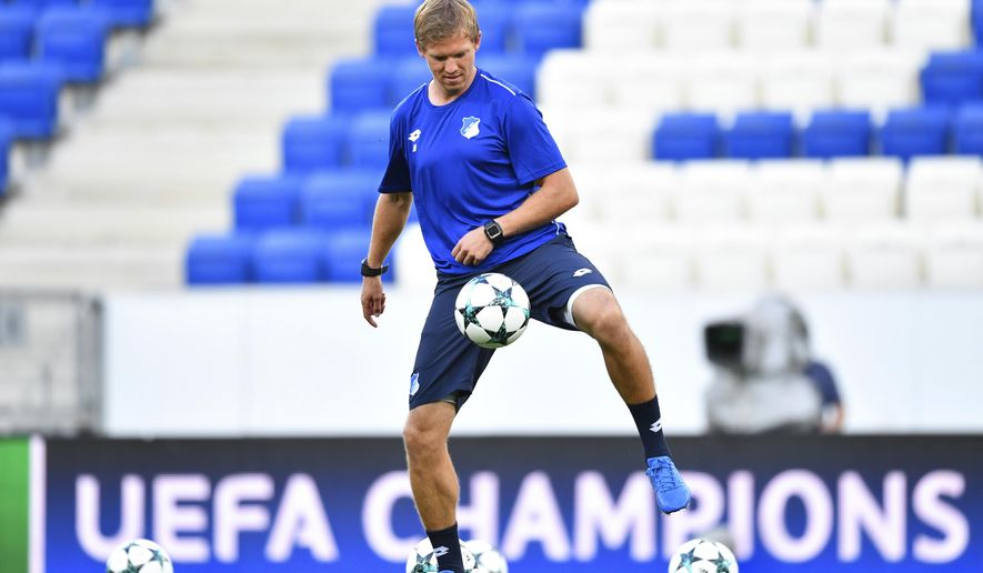 Hoffenheim's coach Julian Nagelsmann in action during the training session in preparation of the upcoming Champions League qualifier soccer match between 1899 Hoffenheim and FC Liverpool in the Rhein-Neckar-Arena in Sinsheim, Germany, Monday Aug. 14, 2017. (Uwe Anspach/dpa via AP)