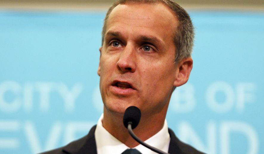 """File-This Aug. 3, 2017 file photo shows Corey Lewandowski, former campaign manager for President Donald Trump, speaking at the City Club of Cleveland, in Cleveland.  Neighbors of Lewandowski say he harassed them in a land dispute and threatened to use his """"political clout"""" to make their life """"a nightmare."""" Glenn and Irene Schwartz countersued Lewandowski this month after he filed a $5 million lawsuit in July over access to a pond-front property in Windham, New Hampshire.(AP Photo/Dake Kang, File)"""