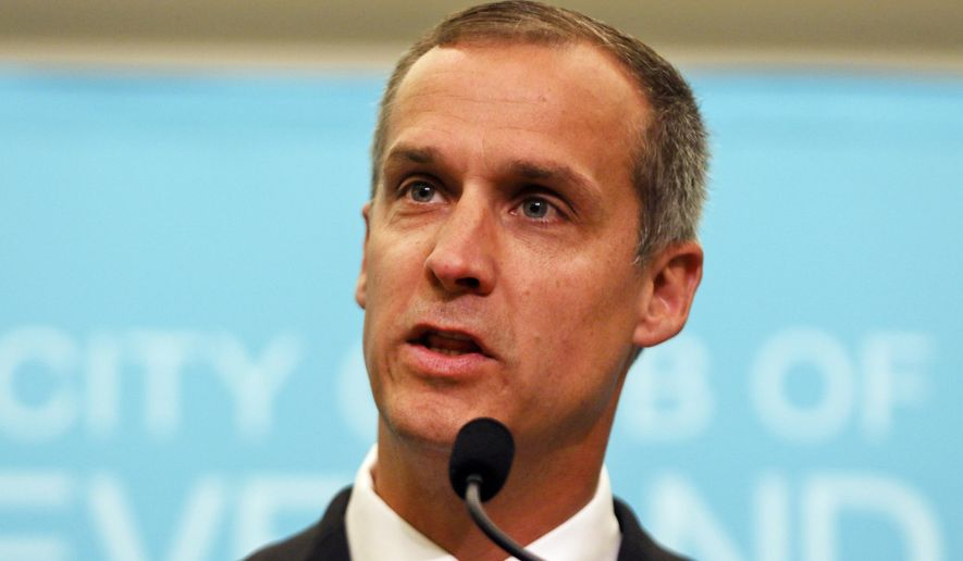 This Aug. 3, 2017, file photo shows Corey Lewandowski, former campaign manager for President Donald Trump, speaking at the City Club of Cleveland, in Cleveland. (AP Photo/Dake Kang, File)