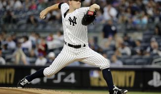 New York Yankees' Sonny Gray delivers a pitch during the first inning of a baseball game against the New York Mets Tuesday, Aug. 15, 2017, in New York. (AP Photo/Frank Franklin II)