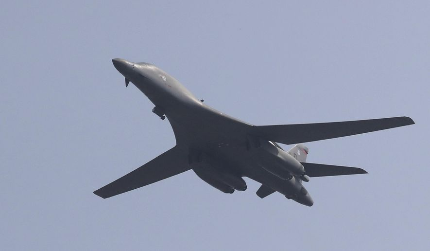 In this Sept. 13, 2016, file photo, a U.S. B-1B bomber flies over Osan Air Base in Pyeongtaek, South Korea.  (AP Photo/Lee Jin-man, File) **FILE**