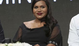 "FILE - In this July 27, 2017, file photo, creator/executive producer/actress Mindy Kaling participates in the ""The Mindy Project"" panel during the Hulu Television Critics Association Summer Press Tour at the Beverly Hilton in Beverly Hills, Calif. Kaling announced in a preview of an interview with NBC's ""Today"" show released Aug. 15, 2017, that she is pregnant. (Photo by Willy Sanjuan/Invision/AP, File)"