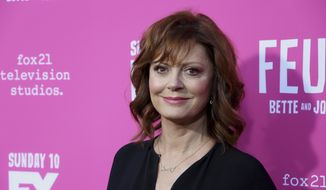 "In a Friday, April 21, 2017, file photo, Susan Sarandon arrives at the ""Feud: Bette and Joan"" FYC screening at The Ebell of Los Angeles. (Photo by Willy Sanjuan/Invision/AP, File)"
