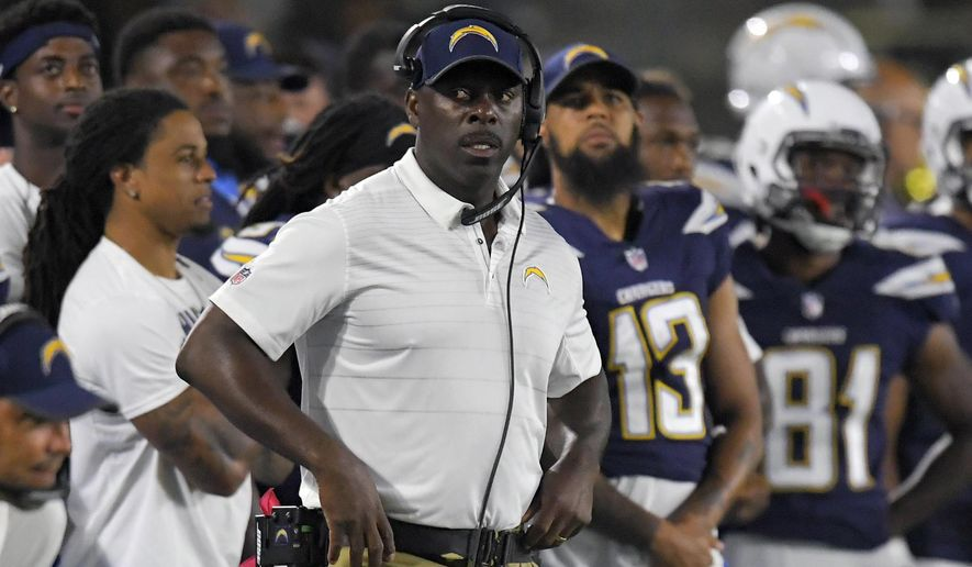Los Angeles Chargers coach Anthony Lynn watches from the sideline during the second half of the team's NFL preseason football game against the Seattle Seahawks on Sunday, Aug. 13, 2017, in Carson, Calif. (AP Photo/Mark J. Terrill)