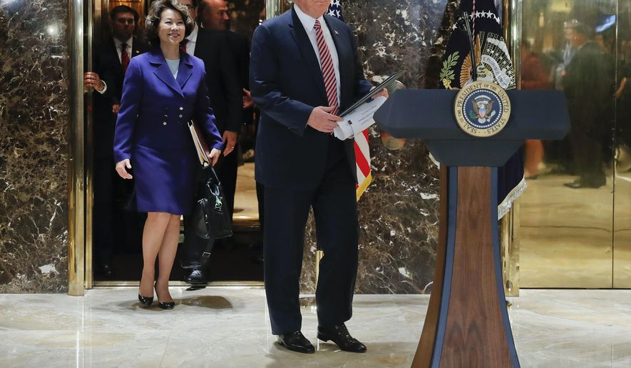 President Donald Trump walks out of the elevator to speak in the lobby of Trump Tower, Tuesday, Aug. 15, 2017 in New York. Walking out with Trump are Transportation Secretary Elaine Chao, Treasury Secretary Steve Mnuchin, and National Economic Council Director Gary Cohn. (AP Photo/Pablo Martinez Monsivais)