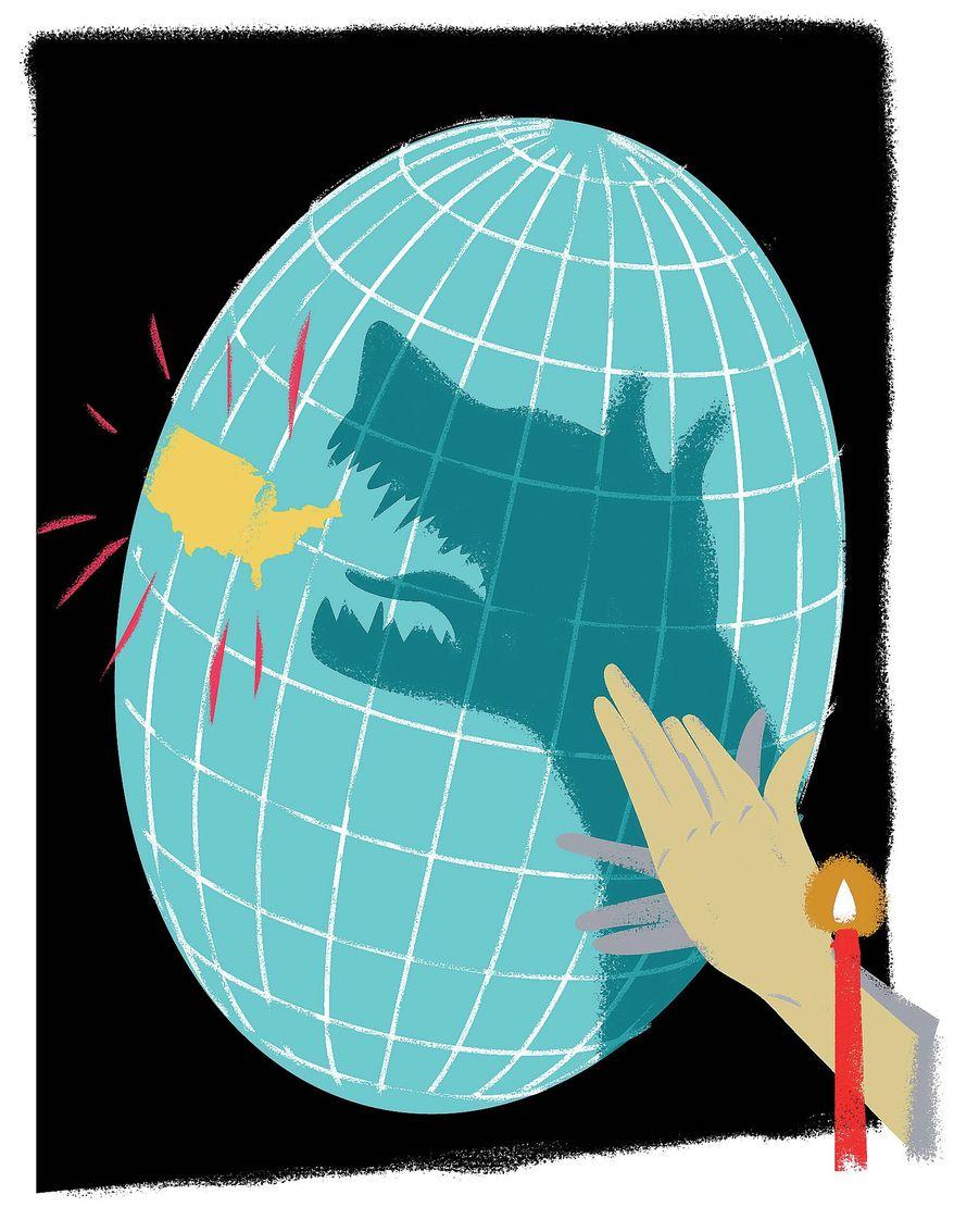 Illustration on North Korea's backing down by Linas Garsys/The Washington Times