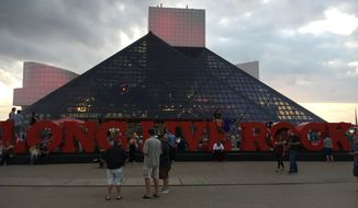 The facade of the Rock and Roll Hall of Fame in Cleveland.  (Eric Althoff/The Washington Times)